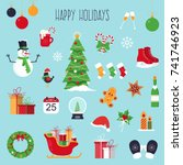 christmas icons set. flat... | Shutterstock .eps vector #741746923