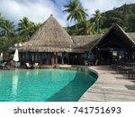 Small photo of Bora Bora 6 June 2017: Super luxury delux hotel Sofitel Marara Bora Bora with swimming pool and green palmas. VIP Luxury resort. Bungalow tropical restaurant. tropical paradise. Delux Relax hotel lux