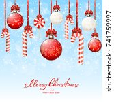 set of red and white christmas... | Shutterstock .eps vector #741759997