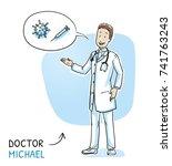 modern doctor in white coat and ... | Shutterstock .eps vector #741763243