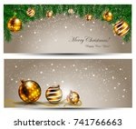 elegant christmas banner with... | Shutterstock .eps vector #741766663