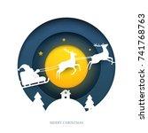 santa on sleigh with reindeer... | Shutterstock .eps vector #741768763