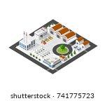 isometric industrial landscape | Shutterstock . vector #741775723