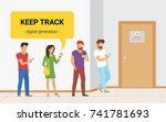 waiting in line near a door... | Shutterstock .eps vector #741781693