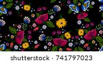 Stock vector embroidery native seamless pattern with simplify flowers vector embroidered traditional floral 741797023