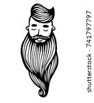 hipster head with beard. hand... | Shutterstock .eps vector #741797797