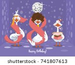 two goose holding the number 58....   Shutterstock .eps vector #741807613