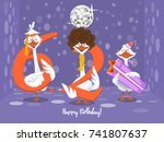 two goose holding the number 62....   Shutterstock .eps vector #741807637