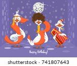 two goose holding the number 53....   Shutterstock .eps vector #741807643