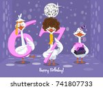 two goose holding the number 67....   Shutterstock .eps vector #741807733