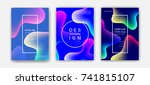 fluid color covers set.... | Shutterstock .eps vector #741815107