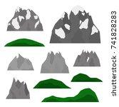 set of alpine mountains ... | Shutterstock .eps vector #741828283