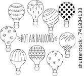 hot air balloons hand sketch... | Shutterstock .eps vector #741834133