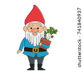 cute gnome with clovers plant... | Shutterstock .eps vector #741840937