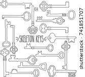 skeleton keys hand drawn outline | Shutterstock .eps vector #741851707