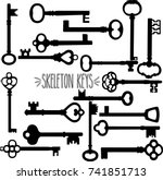 skeleton keys hand drawn... | Shutterstock .eps vector #741851713