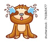 cute sloth character  crying ... | Shutterstock .eps vector #741865477