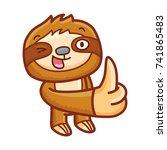 cute sloth character  thumb up  ... | Shutterstock .eps vector #741865483