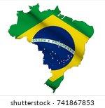 flag map of brazil   Shutterstock . vector #741867853