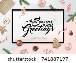 christmas flat lay design with... | Shutterstock .eps vector #741887197