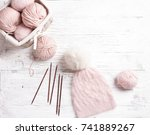 handmade knitted pink hat with... | Shutterstock . vector #741889267