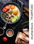 breakfast set. pan of fried... | Shutterstock . vector #741895183