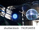 disco ball with blue light... | Shutterstock . vector #741914053