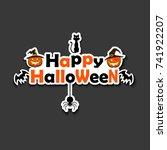 banner happy halloween on... | Shutterstock .eps vector #741922207