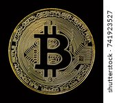 golden bitcoin on black... | Shutterstock . vector #741923527