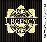 urgency gold shiny emblem | Shutterstock .eps vector #741929413