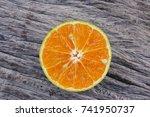 orange fruits slide closeup on... | Shutterstock . vector #741950737