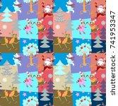 seamless christmas patchwork... | Shutterstock .eps vector #741953347