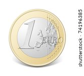 One Euro Coin  Isolated On The...