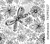 dragonfly and flowers doodle... | Shutterstock .eps vector #741993127