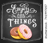 hand drawn two donuts colorful... | Shutterstock .eps vector #741997057