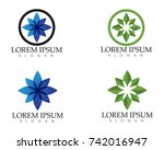 leaf green nature logo and... | Shutterstock .eps vector #742016947