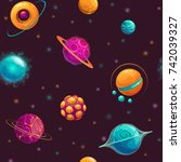 seamless pattern with cartoon... | Shutterstock .eps vector #742039327