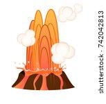 strong jet of hot lava going... | Shutterstock .eps vector #742042813