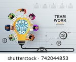 idea concept for business... | Shutterstock .eps vector #742044853
