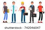 people various professions on... | Shutterstock .eps vector #742046047