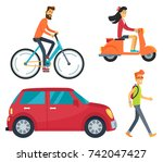 icons of man on bike  girl with ... | Shutterstock .eps vector #742047427