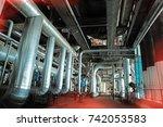industrial steel pipelines ... | Shutterstock . vector #742053583