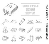camping set icons in outline... | Shutterstock . vector #742055143