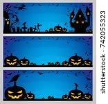 halloween blue banners.   Shutterstock .eps vector #742055323