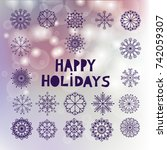 happy holidays. christmas  card ... | Shutterstock .eps vector #742059307