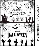 happy halloween wish poster... | Shutterstock .eps vector #742063267
