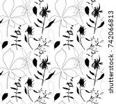 floral vector seamless pattern...   Shutterstock .eps vector #742066813