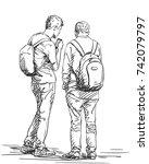 vector sketch of two men... | Shutterstock .eps vector #742079797