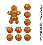 gingerbread man and set of...   Shutterstock .eps vector #742100317