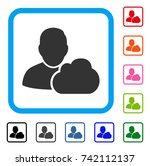 user cloud icon. flat grey...